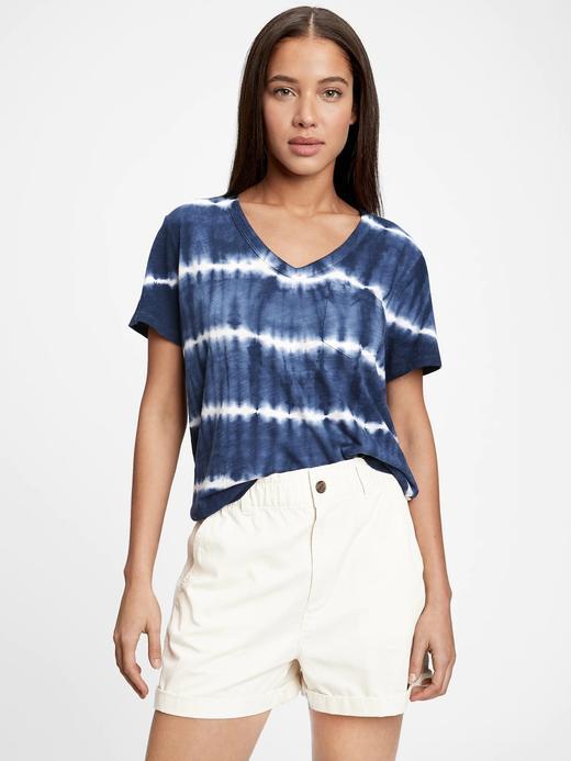 Kadın Mavi V-Yaka T-Shirt