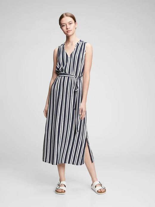 Kadın Lacivert Desenli Maxi Elbise