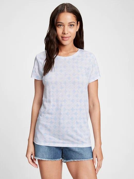 Kadın Mavi Favorite Desenli Yuvarlak Yaka T-Shirt