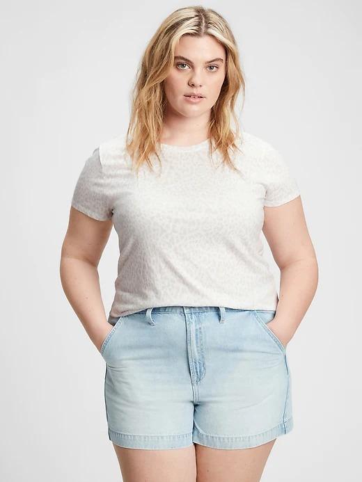 Kadın Beyaz Favorite Desenli Yuvarlak Yaka T-Shirt