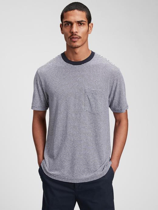 Erkek Mavi Keten T-Shirt