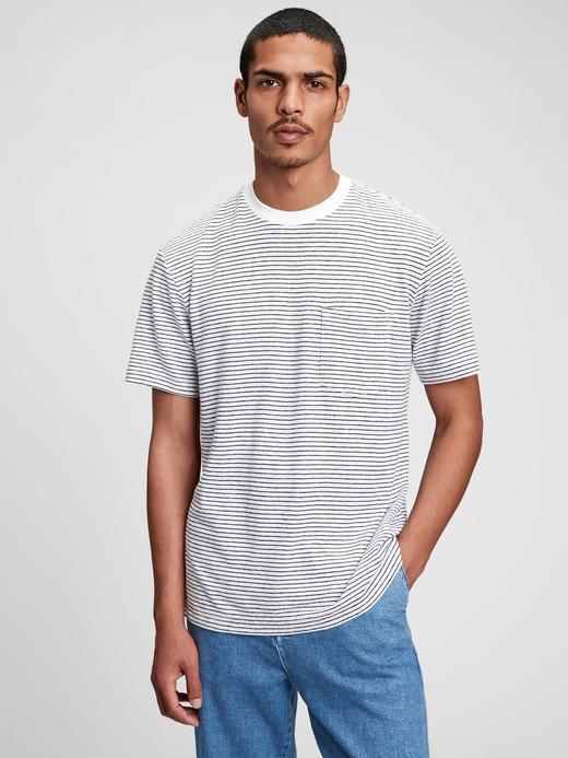 Erkek Beyaz Keten T-Shirt