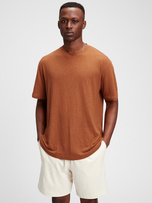 Erkek Kahverengi Keten T-Shirt