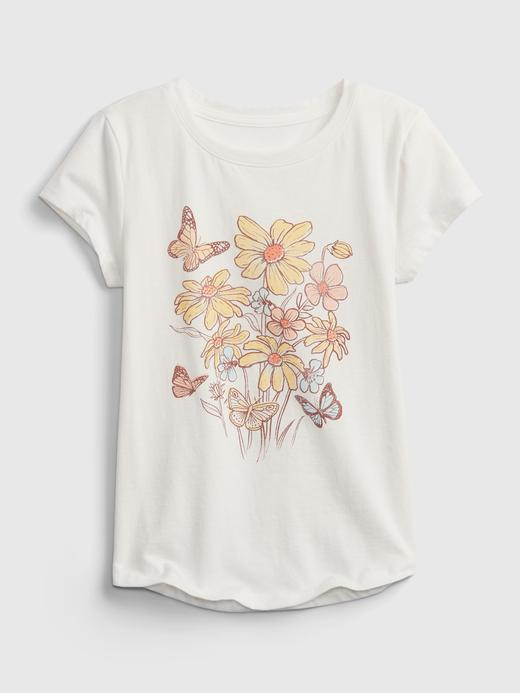 Kız Çocuk Beyaz Kısa Kollu Organik Pamuk Grafik T-Shirt