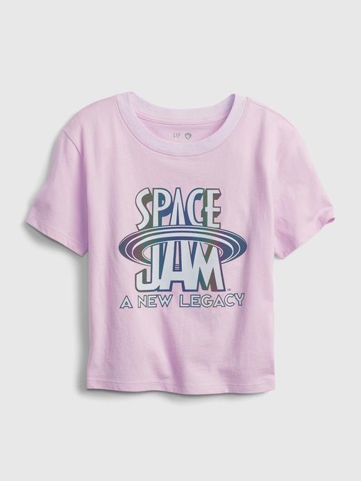 Kız Çocuk Mor Space Jam %100 Organik Pamuk Grafik T-Shirt