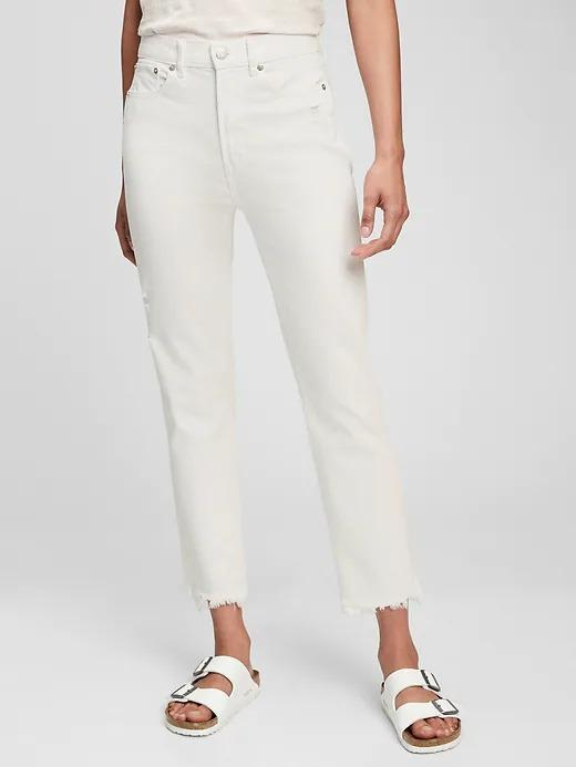 Kadın Beyaz High Rise Cigarette Jean Pantolon
