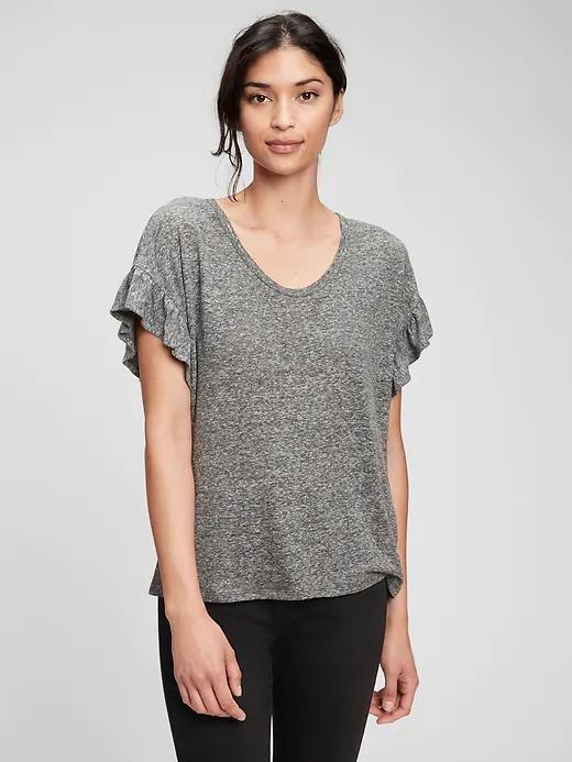 Kadın Gri Kolları Fırfırlı Keten T-Shirt
