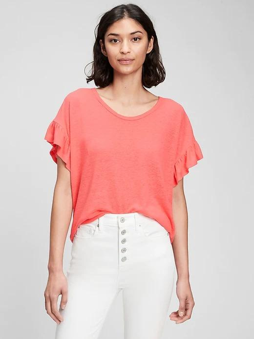 Kadın Turuncu Kolları Fırfırlı Keten T-Shirt