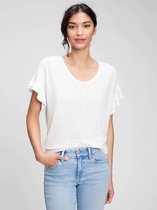 Kadın Beyaz Kolları Fırfırlı Keten T-Shirt