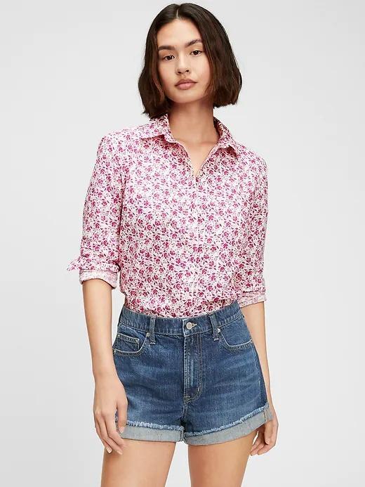 Kadın Pembe Çiçek Desenli Gömlek