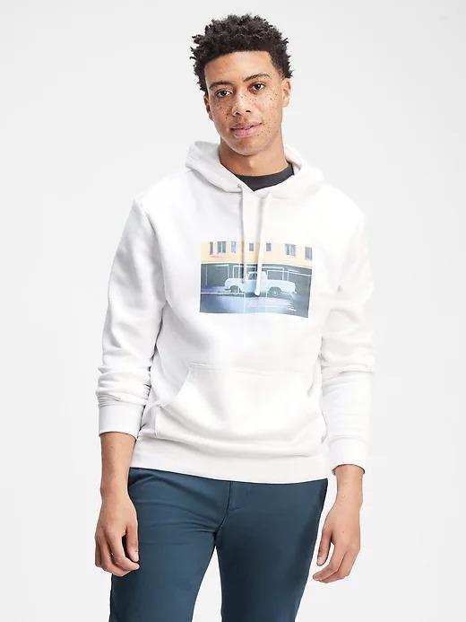 Erkek Beyaz Grafik Kapüşonlu Sweatshirt