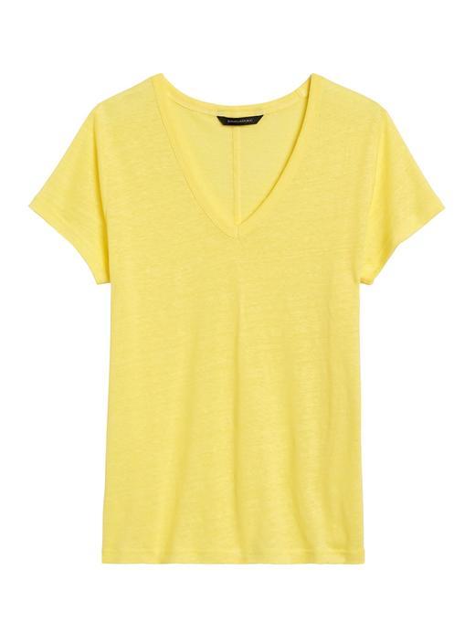 Kadın Sarı V Yaka Keten T-Shirt