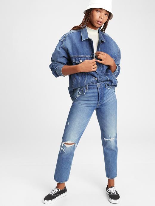 Kadın Mavi Oversize Denim Ceket