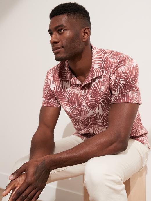 Erkek Pembe Palmiye Desenli Polo T-Shirt