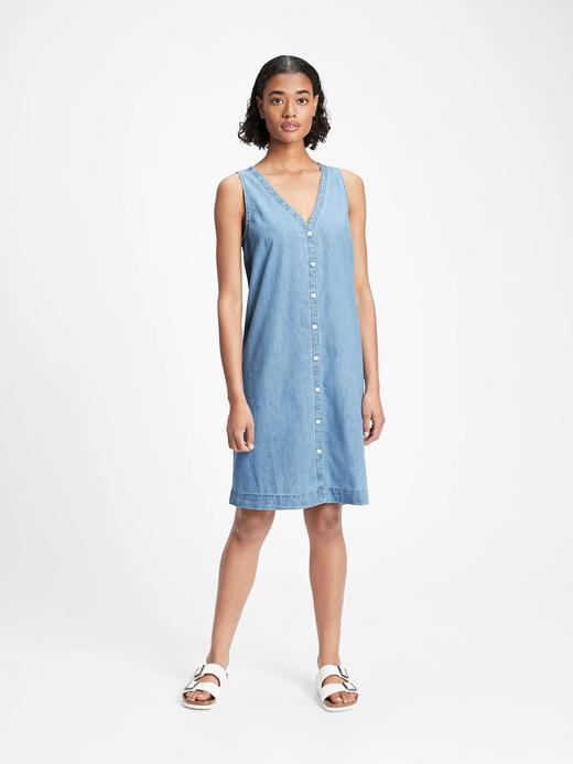 Kadın Mavi Önden Düğmeli Elbise