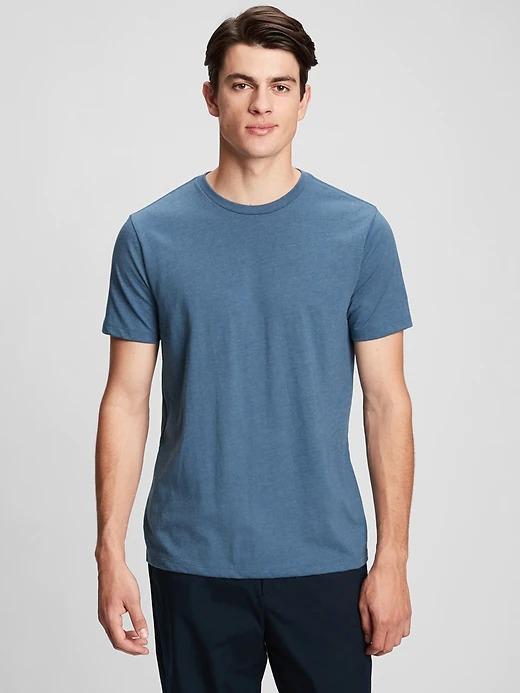 Erkek Mavi Yuvarlak Yaka T-shirt