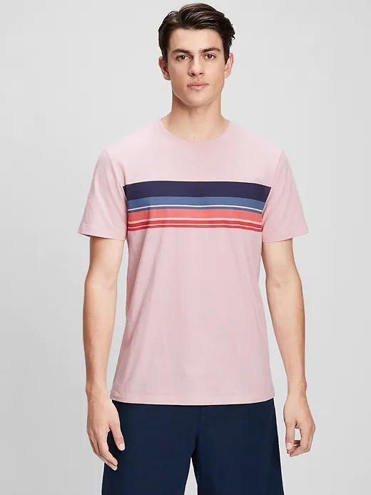 Erkek Pembe Çizgili  T-Shirt