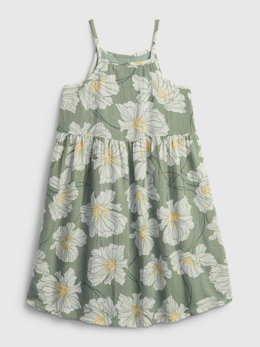 Kız Çocuk Beyaz Çiçek Desenli Askılı Elbise
