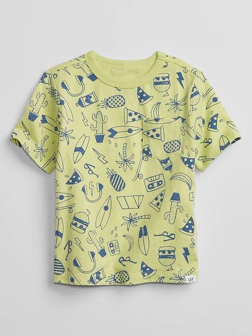 Erkek Bebek Sarı Kısa Kollu Desenli T-Shirt