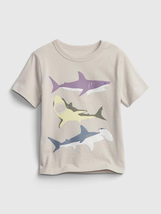 Erkek Bebek bej Kısa Kollu Grafik T-Shirt