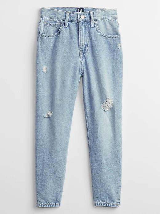 Kız Çocuk Mavi High Rise Mom Jean Pantolon