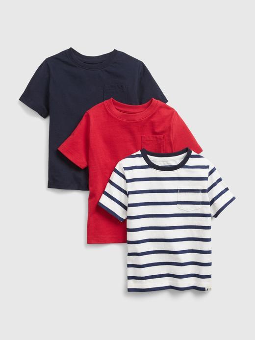 Erkek Bebek Kırmızı %100 Organik Pamuk 3'lü T-Shirt Seti