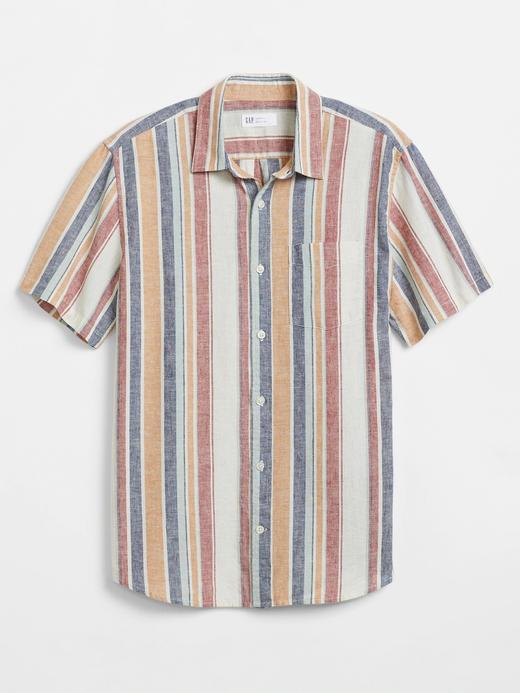 Erkek Çok Renkli Keten Pamuk Karışımlı Gömlek