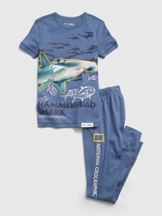 Erkek Çocuk Mavi Köpekbalığı Desenli Organik Pamuk Pijama Takımı