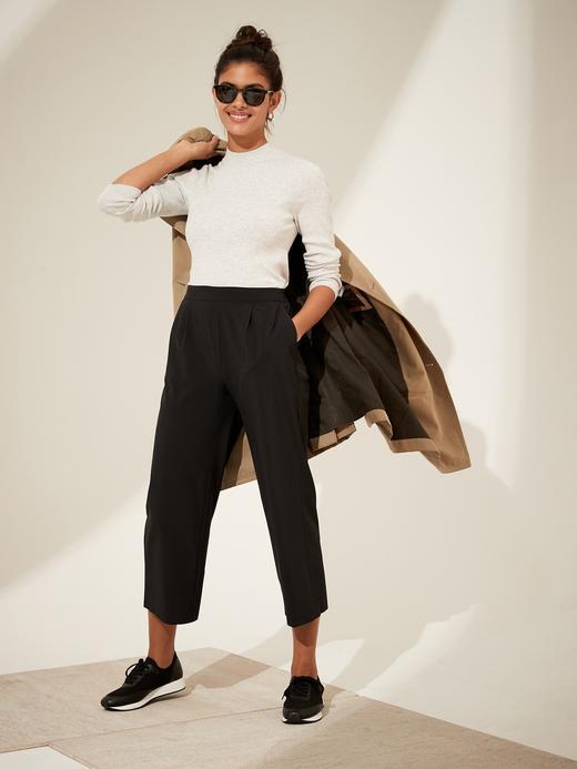 Kadın Siyah Wide-Leg Cropped Pantolon