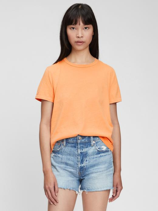 Kadın Sarı Organik Pamuklu Vintage T-Shirt