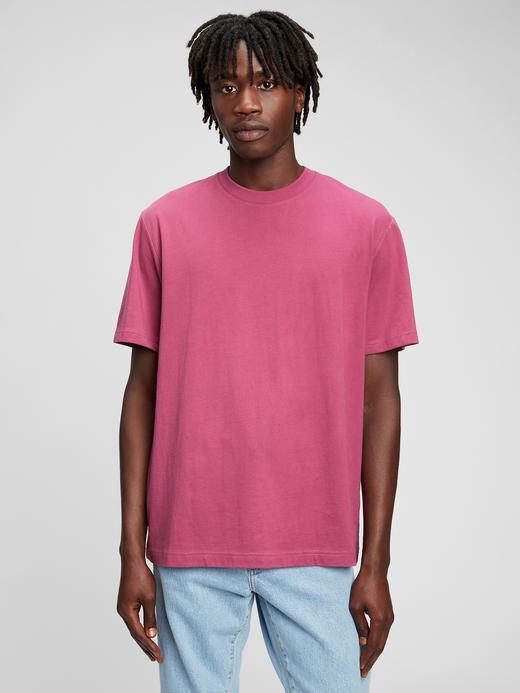 Erkek Pembe %100 Organik Pamuk T-Shirt