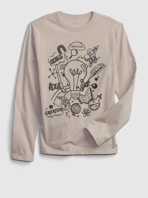 Erkek Çocuk Bej %100 Organik Pamuk Grafik T-Shirt