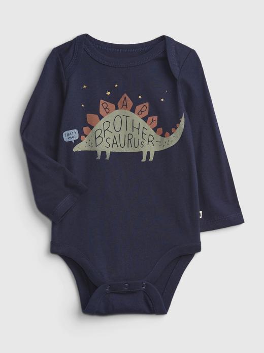 Erkek Bebek Lacivert %100 Organik Pamuk Grafik Desenli Bodysuit