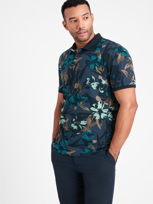 Erkek Çok Renkli Çiçek Desenli Polo T-Shirt
