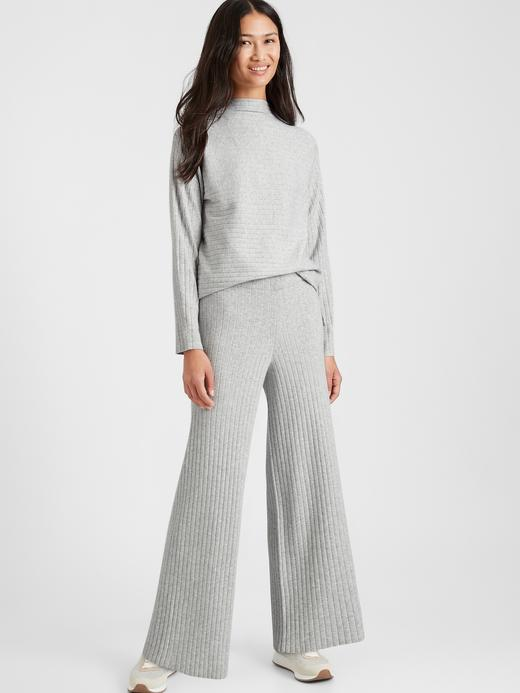 Kadın gri Fitil Detaylı Triko Pantolon
