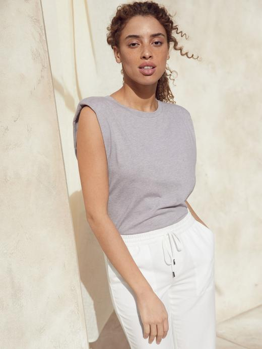 Kadın Beyaz SUPIMA® Kolsuz Bluz