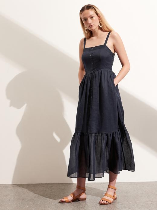 Kadın Lacivert Düğmeli Maxi Elbise