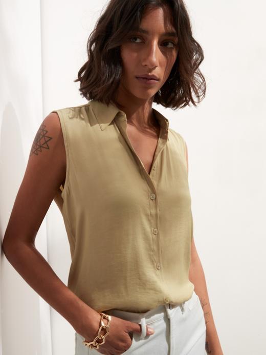 Kadın Bej Kolsuz Gömlek