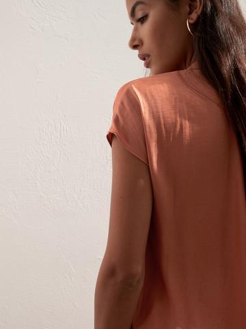 Kadın Turuncu V Yaka Kısa Kollu Gömlek