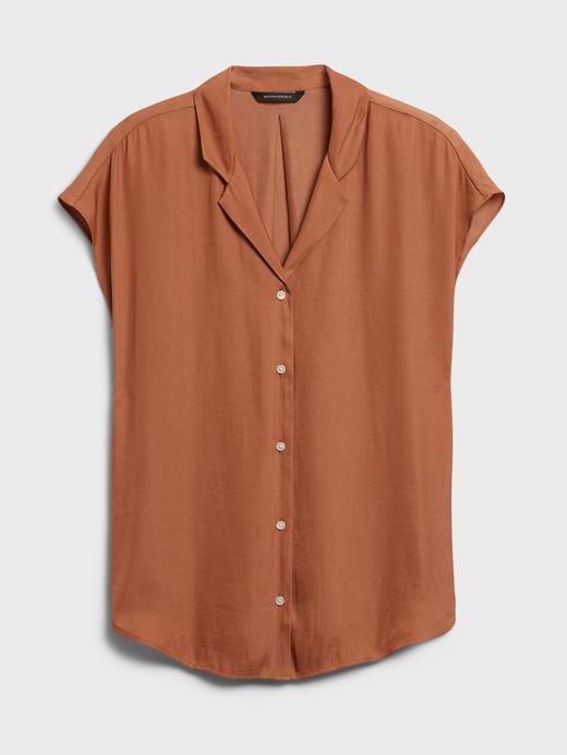 Kadın Mavi V Yaka Kısa Kollu Gömlek