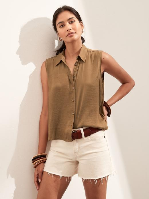 Kadın Kahverengi Kolsuz Gömlek