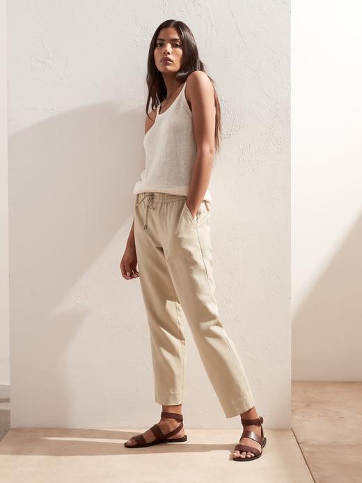 Kadın Yeşil TENCEL™ Slim Fit Keten Pantolon