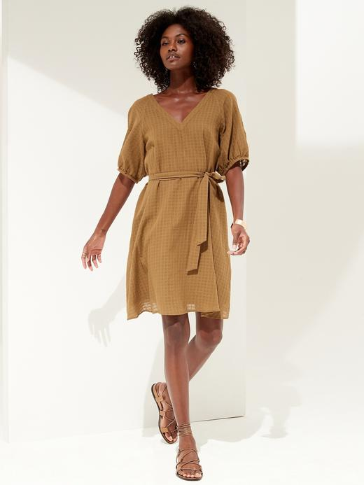 Kadın Kahverengi Gingham Pamuklu Mini Elbise