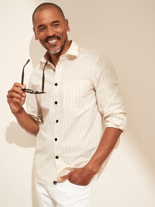 Erkek Beyaz Pamuk Keten Karışımlı Standard Fit Gömlek