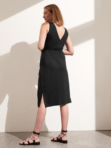 Kadın Mavi Threadsoft Wrap Midi Elbise