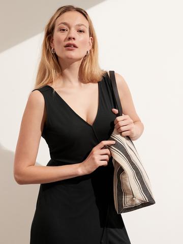 Kadın siyah Threadsoft Wrap Midi Elbise
