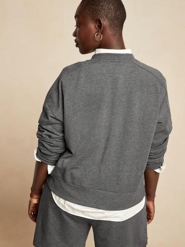 Kadın Gri Baby Terry Cropped Sweatshirt