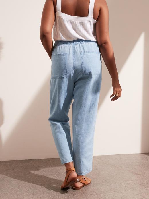 Kadın Mavi Pamuk Keten Karışımlı Easy Jean Pantolon