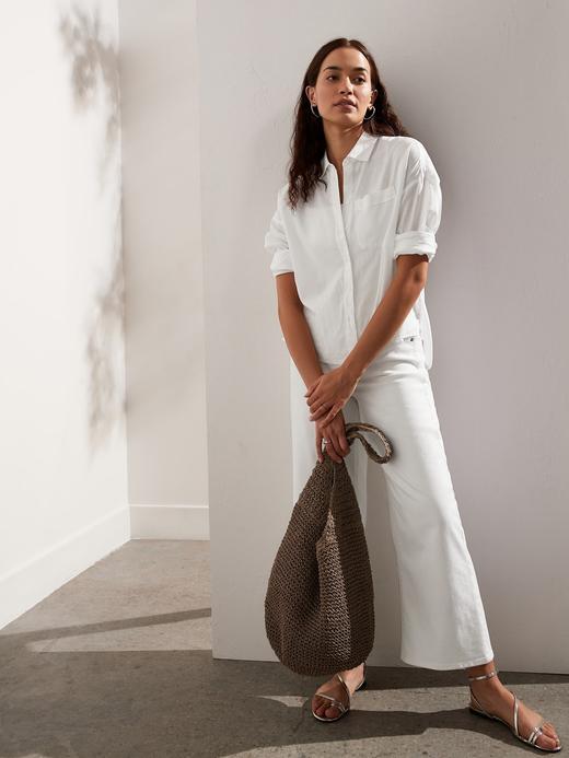 Kadın WHITE 500 Pamuk Keten Karışımlı High-Low Gömlek