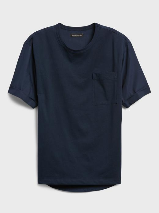Erkek lacivert Pamuklu Oversize T-Shirt
